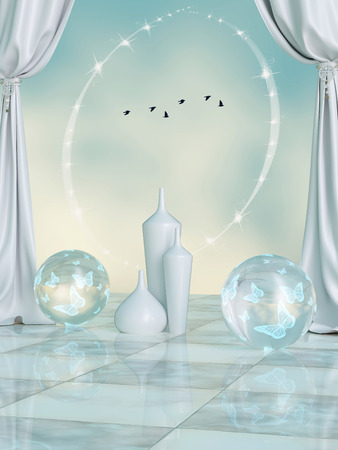 fantasy scene in the sky with crystal ball and birds Stok Fotoğraf