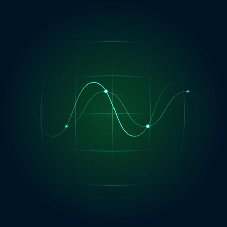 radar: green radar with sine wave Illustration
