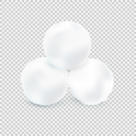 hailstone: Three Snowballs Isolated On Transparent Background. Vector Illustration