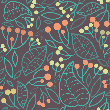 rowanberry: Vector seamless pattern with rowanberry and leaves