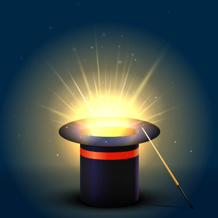 Background Magic Hat With Glow. Vector Illustration Illustration