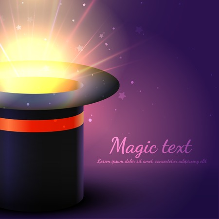 enchantment: Background Magic Hat With Glow. Vector Illustration Illustration