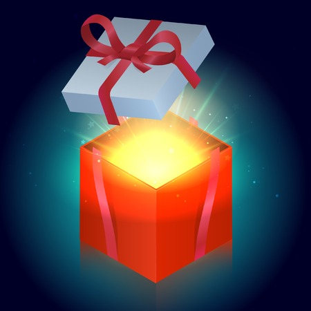 Bright red gift box with shining stars. Vector illustration Illustration