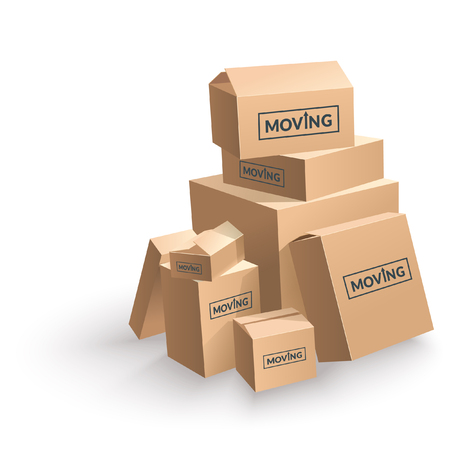 moving box: Moving Cardboard Box On White Background. Vector Illustration