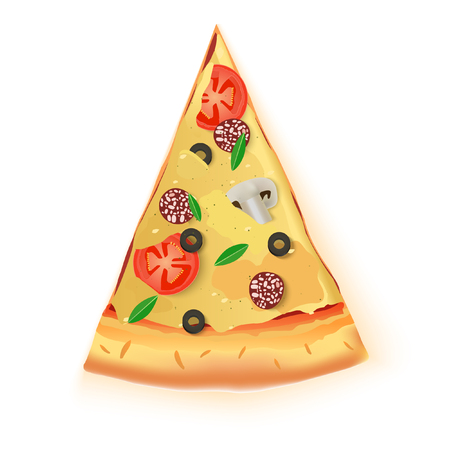 Vector Pizza Cut Off Slice On White Background Illustration