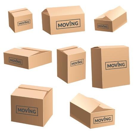 moving box: Moving Cardboard Box On White Background.
