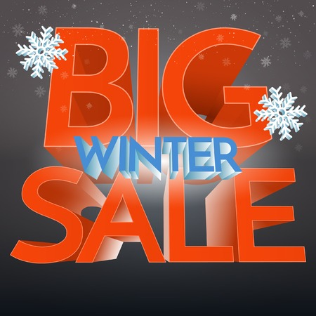 Big Winter Sale With Snowflake Banner. Promo Illustration Illustration
