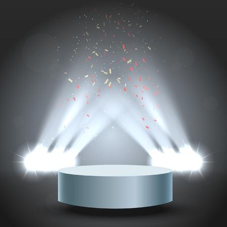alight: Award Podium With Backlight Illumination. Celebration Illustration