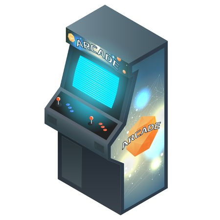 arcade: Arcade Game Cabinet with Glowing Screen. Isometric Illustration