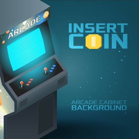 arcade: Arcade Game Cabinet with Glowing Screen. Isometric Background Illustration
