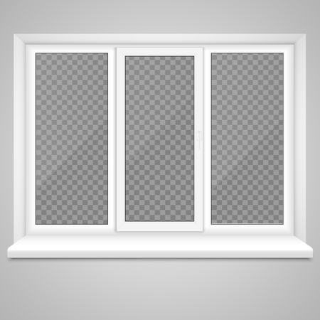 Realistic Closed Middle Open Plastic Window with Transparent Background