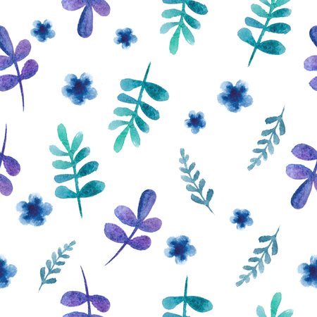 azul turqueza: Seamless pattern with leaves and flowers watercolor background