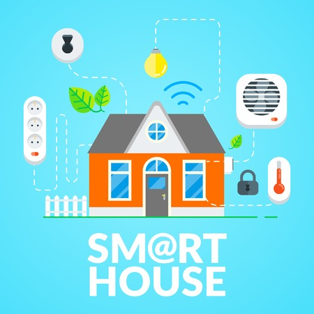 Vector Modern Smart House with Energy, Security, Wireless Network, Conditioning and Monitoring. Flat Design Illustration