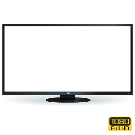 tv screen: Blank LCD LED TV with White Screen. Vector Background