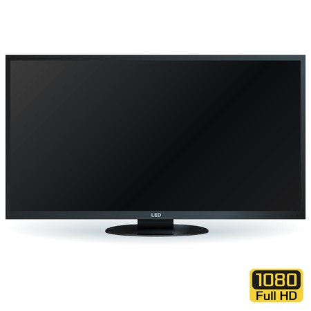 led: Blank LCD LED TV with Black Screen. Vector Background Illustration