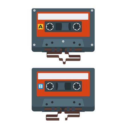 magnetite: Flat Red Cassette Tape Icons. Vector Illustration
