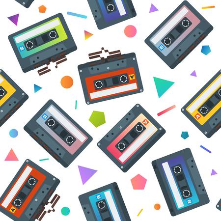 Flat Cassete Tape Seamless Pattern. Vector Background Illustration Illustration