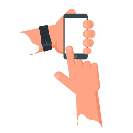 Hand Hold Smartphone And Touch Finger. Vector Flat Illustration