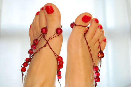 nails: Decorated feet up Stock Photo