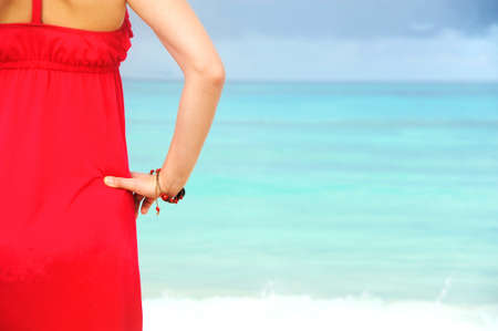 Female admiring the ocean Stock Photo