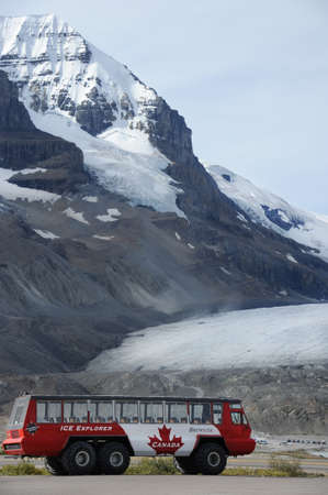 Explorer bus at Athabasca Glacier, Canada