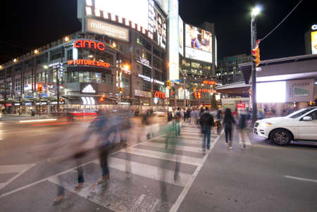 Toronto Younge and Dundas Square at night time