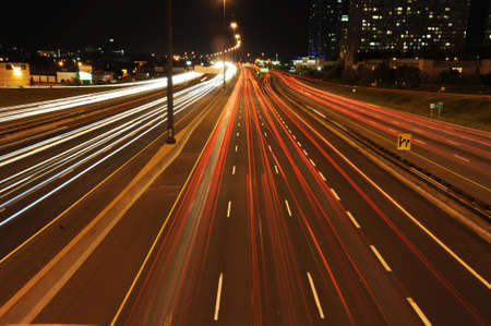 Busy highway at night time