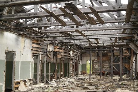 abandoned warehouse: Abandoned Warehouse interior. Tracking shot Stock Photo