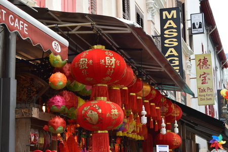 chinese lanterns: Row of hanging Chinese Lanterns outside shop in Chinatown, Singapore Editorial