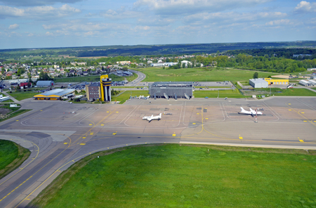 fixed wing aircraft: An aerial view of a small Kaunas airport