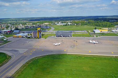 runways: An aerial view of a small Kaunas airport