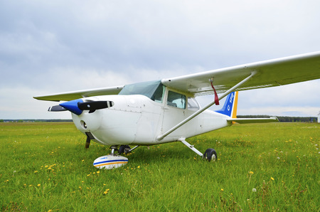 private airplane: Light private airplane Cessna 172 Stock Photo