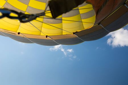 Hot air balloon with bright blue sky. Stockfoto