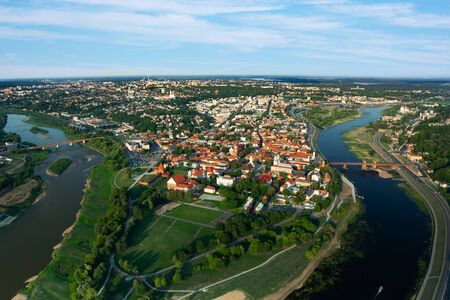 Aerial view of Kaunas from flying hot air balloon.