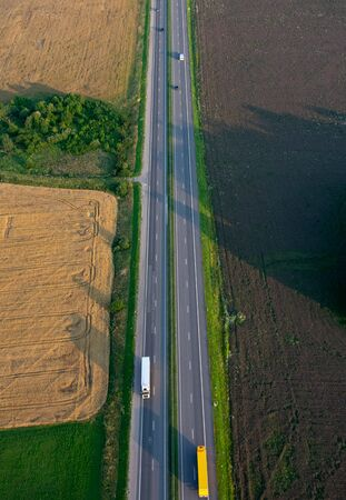 Aerial view of road in the fields. 版權商用圖片