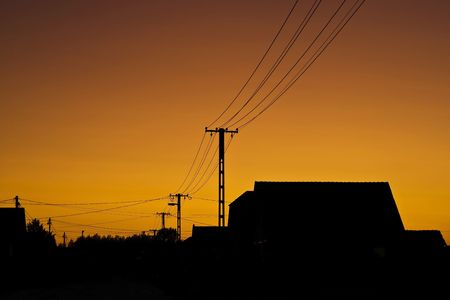 rural town: Sunset orange color in the rural town.