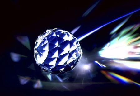 lighten: Polished crystal with dark background, lights.