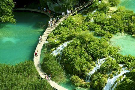 Waterfall in the Plitvice National Park UNESCO World Heritage, Croatia.