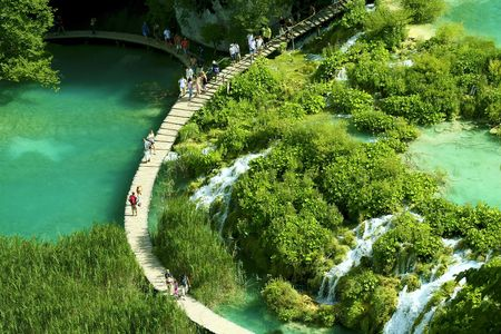 Waterfall in the Plitvice National Park UNESCO World Heritage, Croatia.