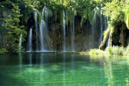 Waterfall in the Plitvice National Park , Croatia