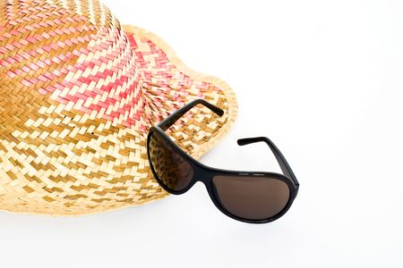 sunnies: Straw, sunglasses isolated on white background.
