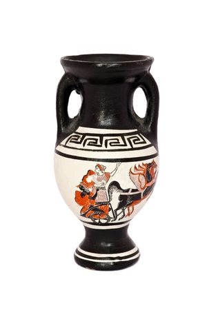 Greek vase white background isolated. photo