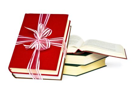 Color books, tied to a gift.