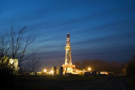 exploration: Oil rig, in the field.