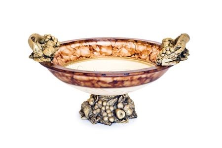 Antique-style decorative bowl on a white background isolated. photo