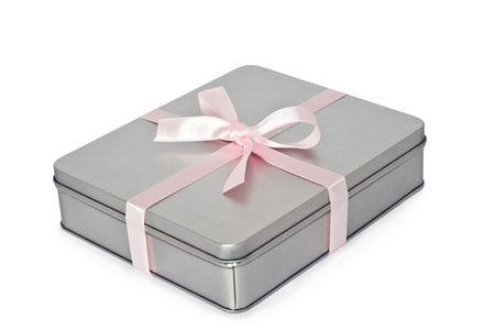 box size: Decorative gray box, isolated on a white background. Stock Photo
