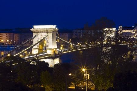 Beautiful Budapest, Chain Bridge illuminated. photo