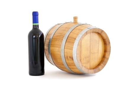 iron hoops: Barrel and bottle, white background isolated.
