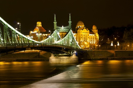 Bridge in Budapest, illuminated at night. photo