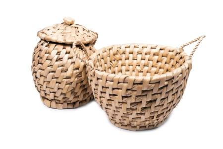 wicker baskets, side by side. photo